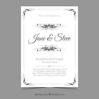 Cartão de casamento elgant com estilo vintage