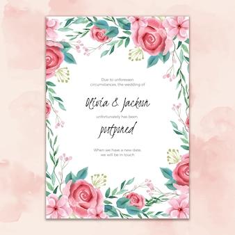 Cartão de casamento em aquarela adiado