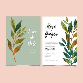 Cartão de casamento em aquarela com folha verde salvar a data