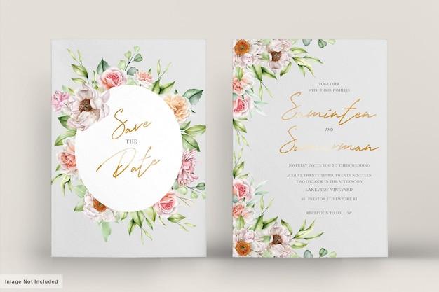 Cartão de casamento em aquarela com rosas e peônias elegantes
