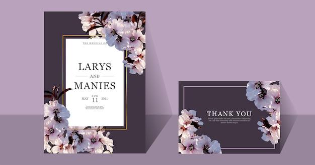 Cartão de casamento em aquarela de flor de cerejeira