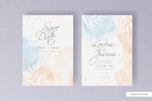Cartão de casamento em aquarela editável com estilo minimalista e aquarela líquida colorida desenhada à mão