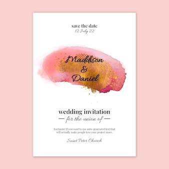 Cartão de casamento em aquarela mínimo