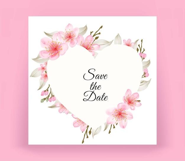 Cartão de casamento em formato de coração com aquarela linda flor de cerejeira