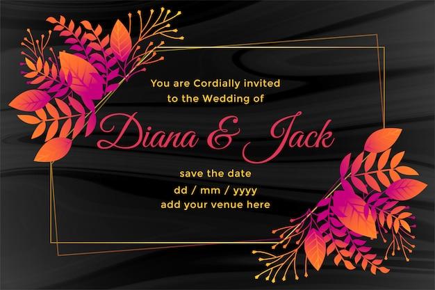Cartão de casamento escuro com decoração de flores
