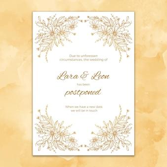 Cartão de casamento estilo mão desenhada