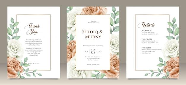 Cartão de casamento feliz cartão de convite de jardim floral casamento, detalhes, obrigado