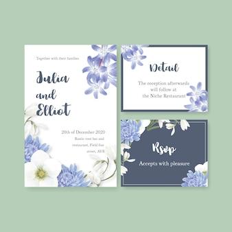 Cartão de casamento flor de inverno com coronário, crisântemo
