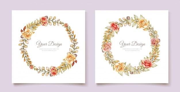 Cartão de casamento floral aquarela mão desenhada