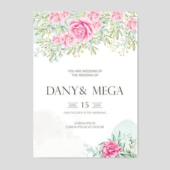 Cartão de casamento floral bonito da aguarela