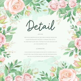 Cartão de casamento floral bonito fundo