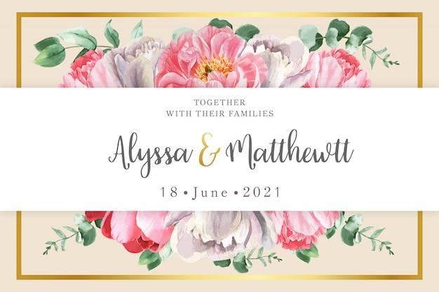 Cartão de casamento floral com faixa branca