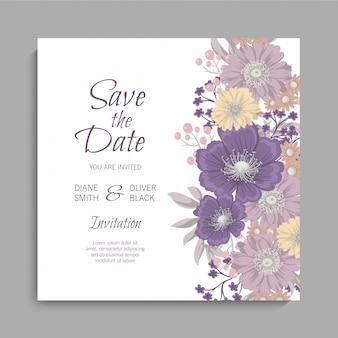 Cartão de casamento floral com flores roxas