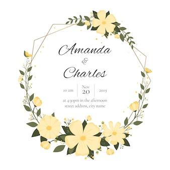 Cartão de casamento floral com grinalda