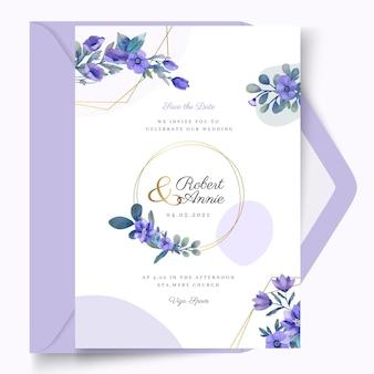 Cartão de casamento floral com moldura