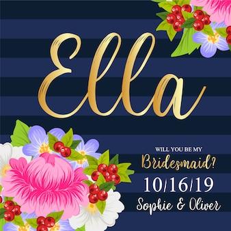 Cartão de casamento floral da dama de honra