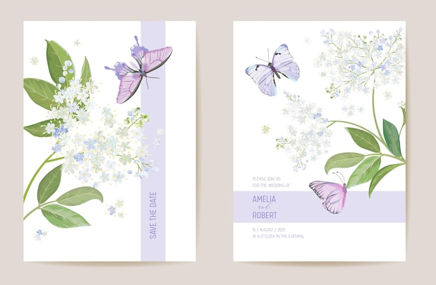 Cartão de casamento floral de sabugueiro em aquarela. convite de flores brancas da primavera do vetor. quadro de modelo boho. capa de folhagem botânica save the date, pôster de design moderno