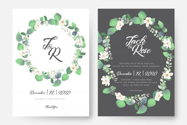 Cartão de casamento floral do eucalipto