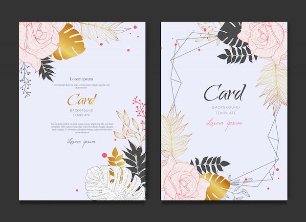 Cartão de casamento floral do ouro clássico