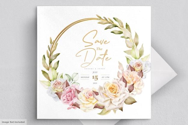 Cartão de casamento floral em aquarela romântico