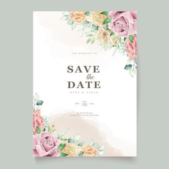 Cartão de casamento floral em aquarela