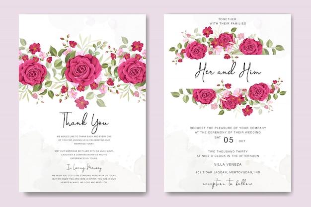 Cartão de casamento floral lindo com modelo de quadro de rosas
