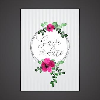 Cartão de casamento floral lindo com um círculo e flor e folhas.