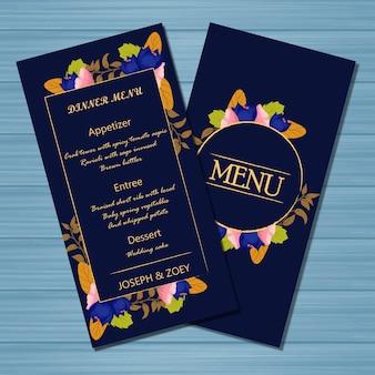 Cartão de casamento floral menu com flores de outono e folhas