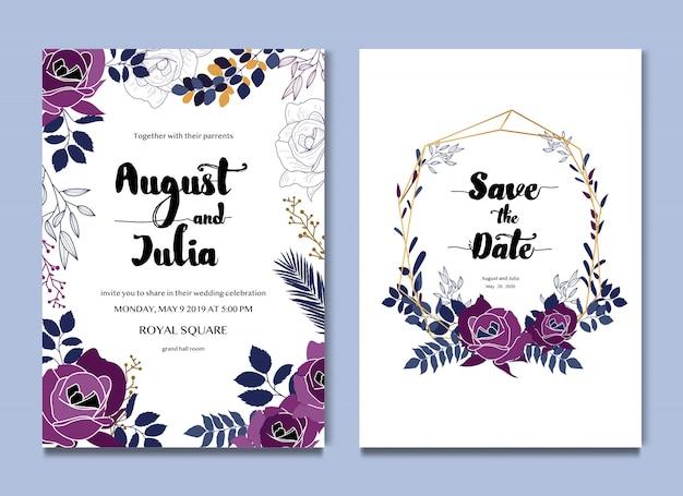 Cartão de casamento floral roxo branco e convite