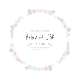 Cartão de casamento floral vintage no estilo da aguarela.
