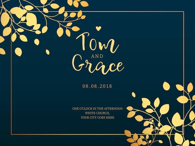 Cartão de casamento horizontal com folhas douradas