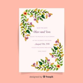 Cartão de casamento linda aquarela com estilo floral