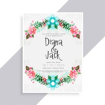 Cartão de casamento linda floreio