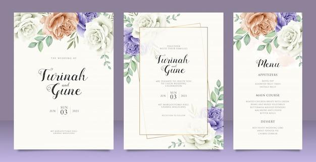 Cartão de casamento lindo cartão de convite de casamento floral