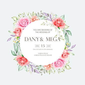 Cartão de casamento lindo com aquarela floral e folhas