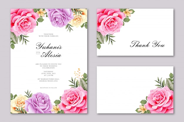 Cartão de casamento lindo com flor rosa colorida