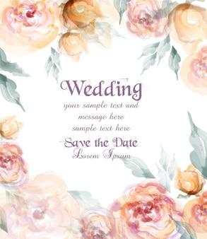 Cartão de casamento lindo com flores em aquarela