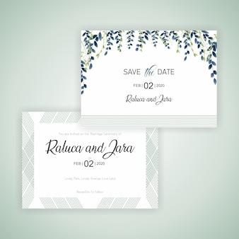 Cartão de casamento lindo com folhas e ramos e linhas simples