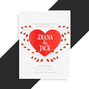 Cartão de casamento lindo coração