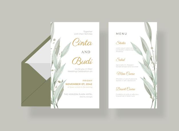 Cartão de casamento lindo e luxuoso com folhas em aquarela