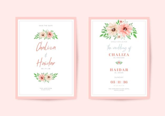 Cartão de casamento lindo e minimalista com aquarela floral