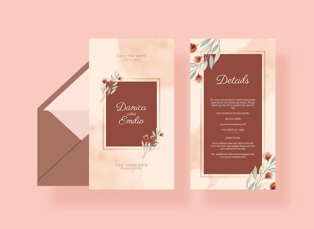 Cartão de casamento lindo e romântico com flores em aquarela