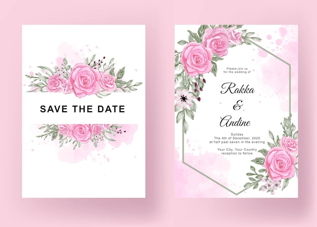 Cartão de casamento lindo modelo floral elegante
