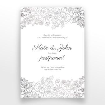 Cartão de casamento mão desenhada design