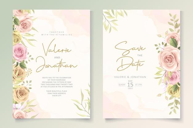 Cartão de casamento minimalista com decoração floral