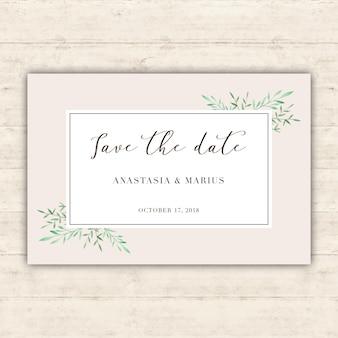 Cartão de casamento minimalista com folhas de aguarela