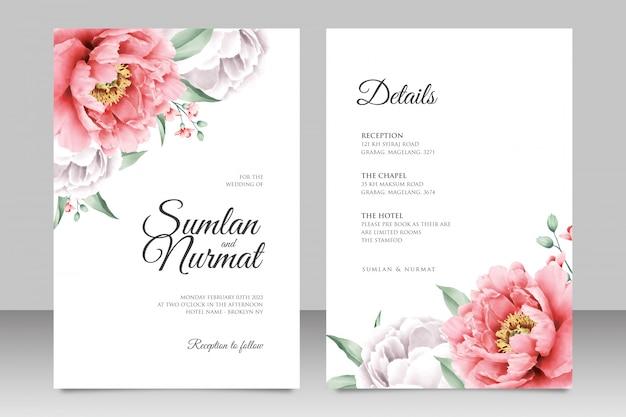 Cartão de casamento minimalista com linda peônia
