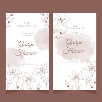Cartão de casamento minimalista com manchas de aquarela