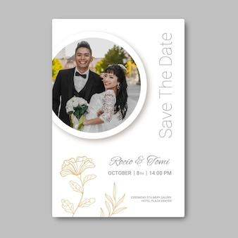 Cartão de casamento mínimo com foto