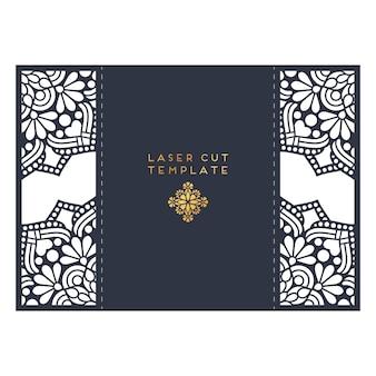 Cartão de casamento modelo de corte a laser. elementos decorativos do vintage